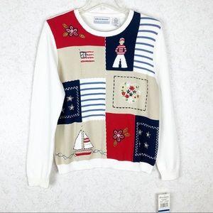 AlfredDunner Patriotic boat flag patchwork sweater